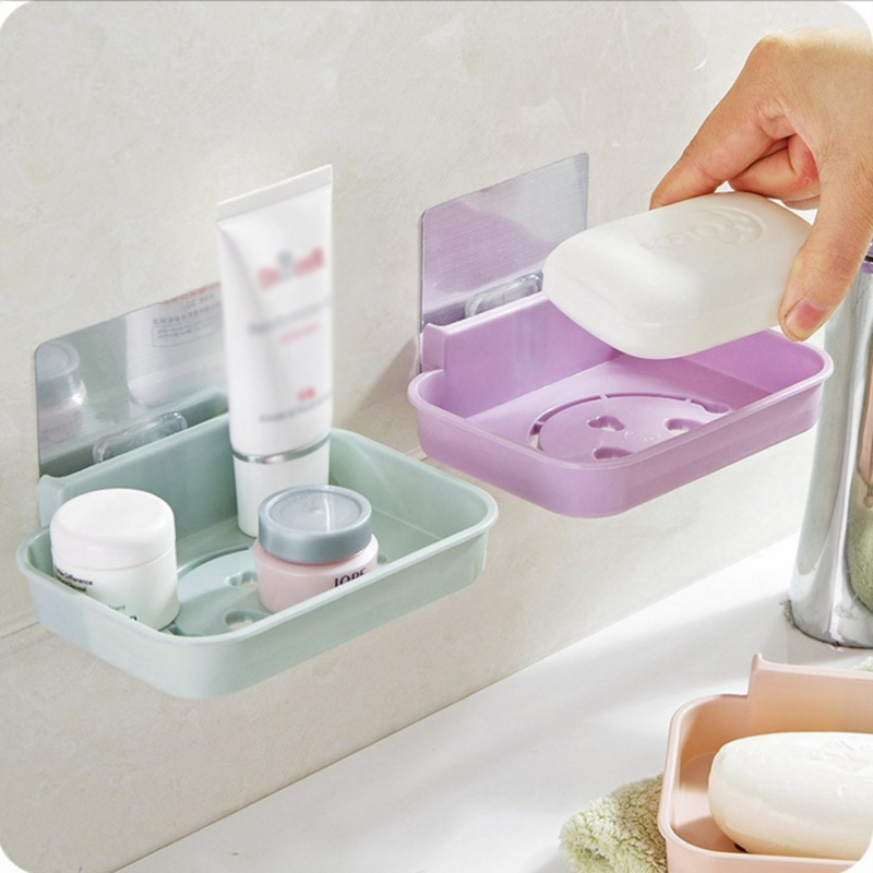 Seamless Paste Wall Soap Box Kitchen Non-slip Drain Soap Sponge Storage Holder Bathroom Smile Face Shaped Cosmetic Storage Rack