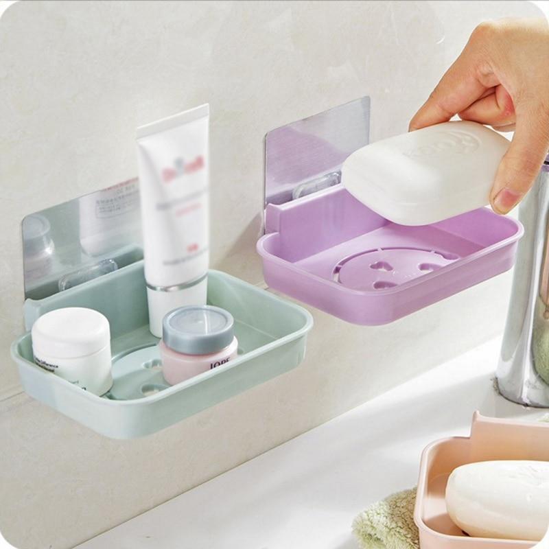 Seamless Paste Wall Soap Box Kitchen Non-slip Drain Soap Sponge Storage Holder Bathroom Smile Face Shaped Cosmetic Storage Rack