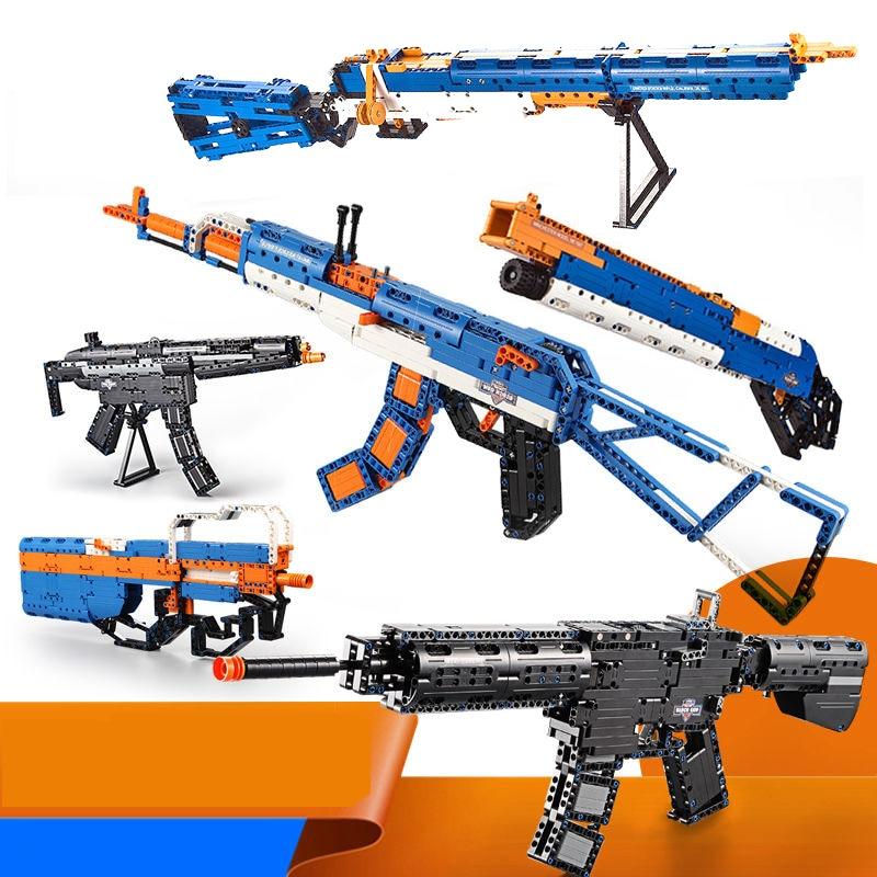 For LEGOing Military Army Gun PUBG Fortnited GAME Battle Series Model Ww2 AK47 M4A1 UZI PVP Kids Birthday Christmas Gift Toys