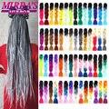 Зеркальные плетеные удлинители волос Mirra's, кроше, Джамбо косы, синтетические волосы для косичек, 24 дюйма, 100 г, Омбре, искусственные волосы