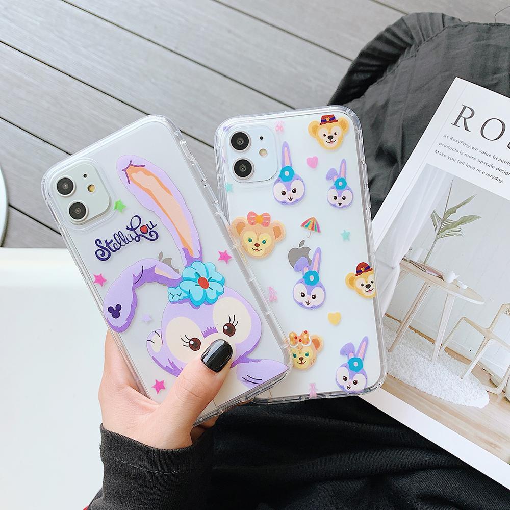 GOOYIYO-Dessin Animé Lapin TPU Téléphone étui pour iPhone 11 Pro Max X XR XS Doux Transparent Airbag Anti-chute iPhone 6 8 7 Plus Couverture
