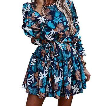 Women Autumn Ruffles Floral Print Dress Casual  Long Sleeve Loose Sashes A Line Dress Female Blue Boho Mini Party Vestidos 2020 plus size women half sleeve ruffles casual summer dress sexy o neck a line loose mini everyday dress sundress vestidos feminino