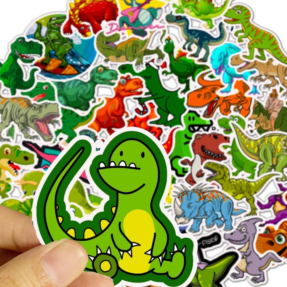 50Pcs Sticker Child Cartoon Anime Dinosaur Series Stickers for Notebook PC Skateboard Bicycle Car Moto DIY Waterproof Toy Gift