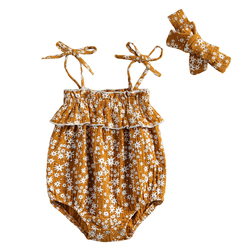 2021 летняя одежда для маленьких девочек Комбинезон с цветочным принтом Одежда с ремешками и повязка на голову для маленьких девочек Одежда д...