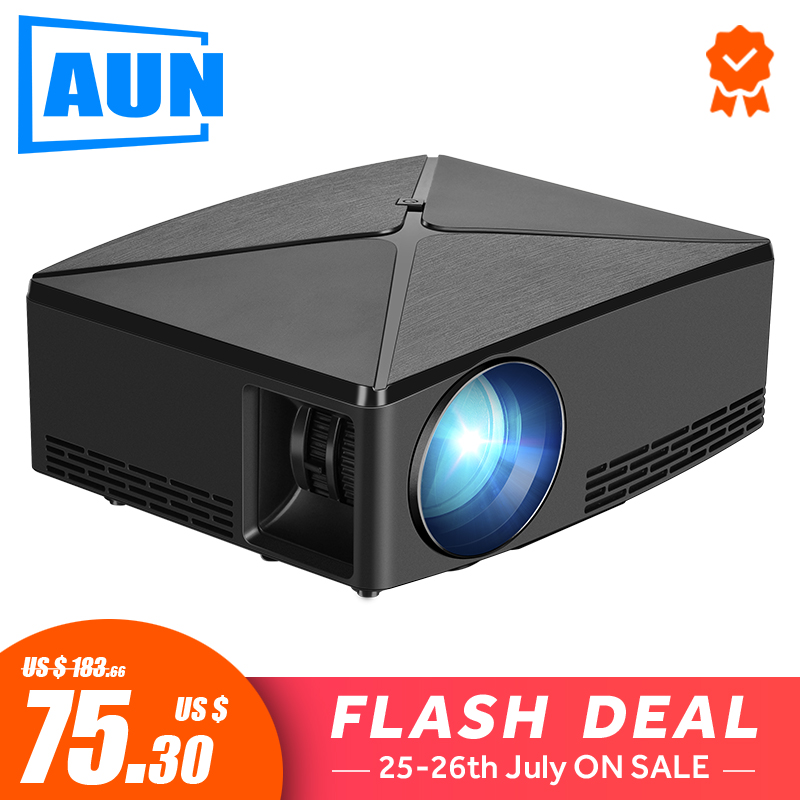AUN MINI Projector C80 UP, 1280x720 Resolution, Android WIFI Proyector, LED Portable 3D Beamer for 4K Home Cinema, Optional C80 kettle