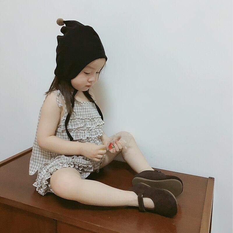 Original children's two-piece suit khaki plaid sling top imakokoni casual all-match girl summer 0231