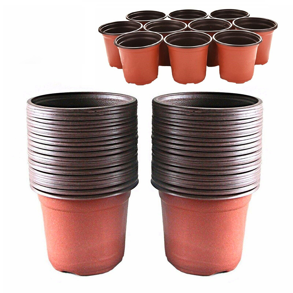 100pcs Succulents Reusable Balcony Container Transplant Plant Nursery Lightweight Round Garden Drain Washable Plastic Flower Pot