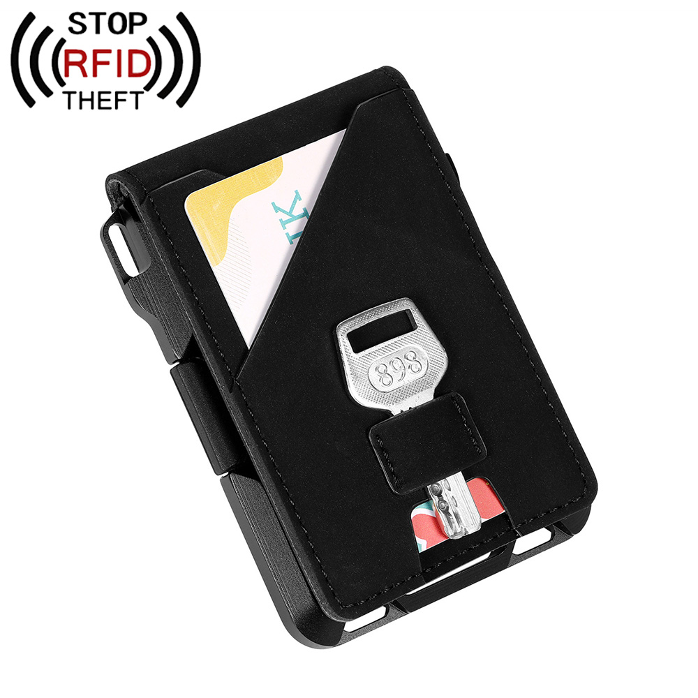 New Antitheft Card Holder PU Leather Men Credit Card Wallet Busienss Case Pocket Anti-Theft RFID Bank Credit Card Male Purse