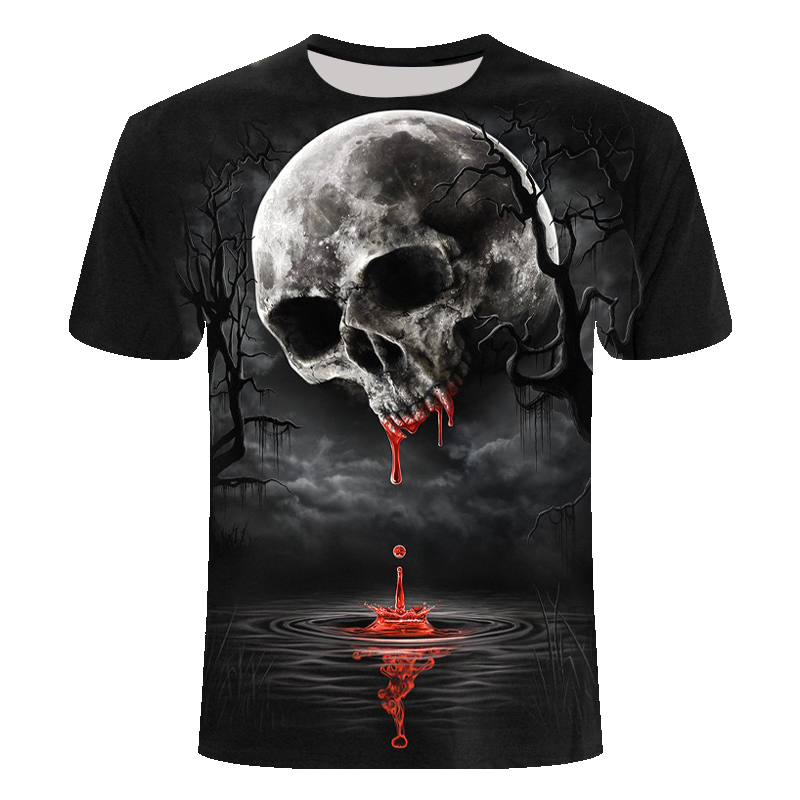 New Death Skull Death Moon Casual Tops Summer 3d Tshirts Hip Hop Graphic Print Skull 3d T-shirt For Men Wholesale Asian Size6xl
