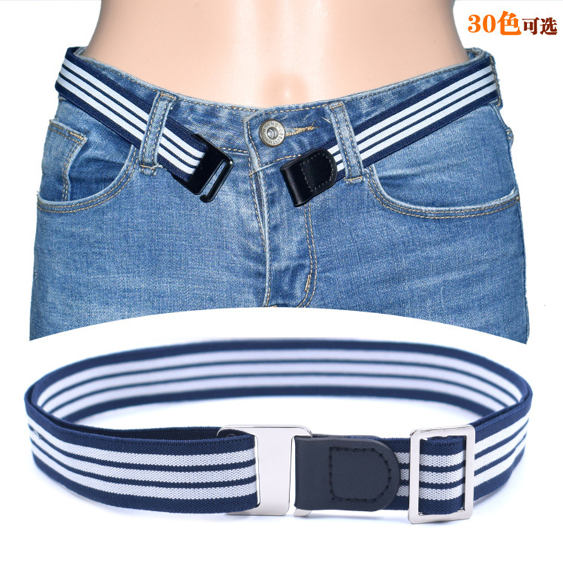 Adjustable Stretch Waist Belt No Show Flat Buckle Non-Slip Simple Elastic Belts Band For Women And Men Pants Clothes Waistband