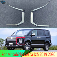 For Mitsubishi Delica D:5 2019 2020 Car Accessories ABS Chrome Front Head Light Headlight Lamp Cover Trim Molding Frame