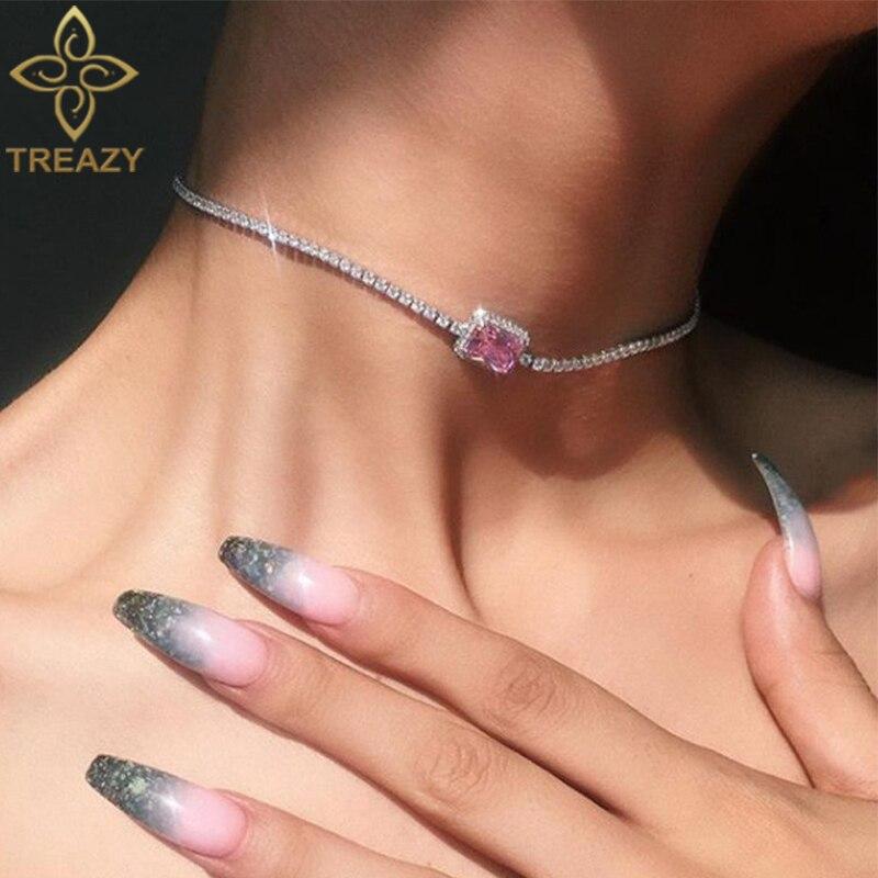 Чокер TREAZY женский с кристаллической цепочкой, Простой ожерелье цвета розового Шампань, колье до ключиц, Подарочная бижутерия