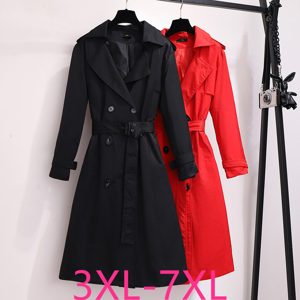 2019 Autumn Winter Plus Size Coat For Women Large Casual Loose Dust Long Coats Trench With Belt Red Black 3XL 4XL 5XL 6XL 7XL