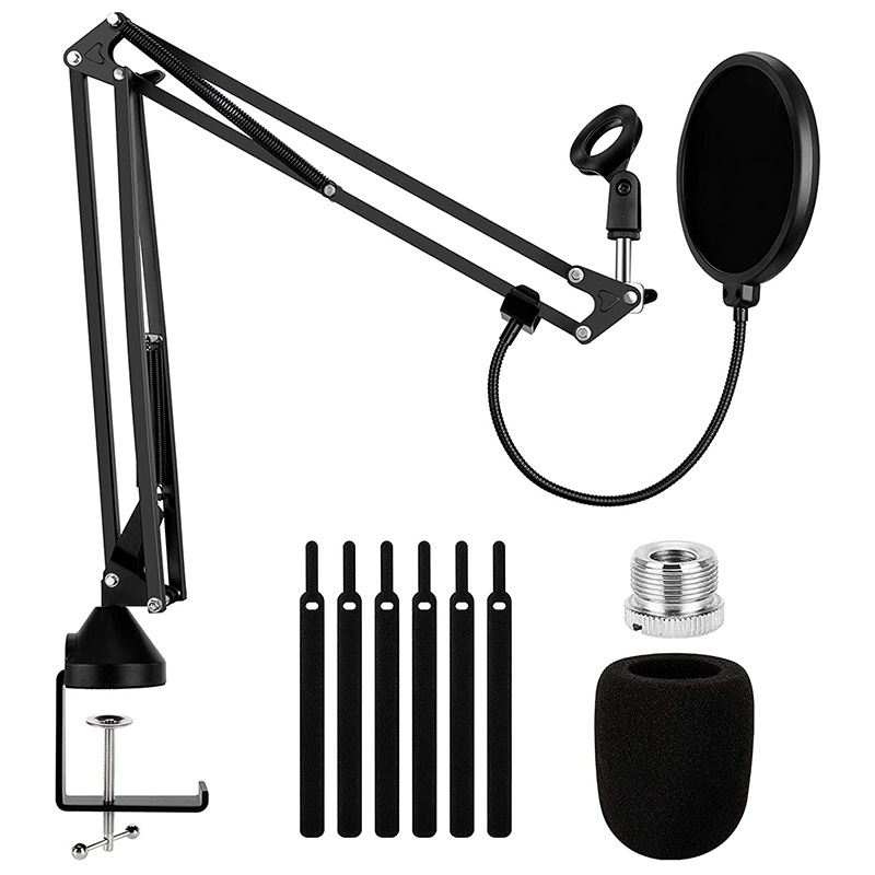 Heavy Duty Microphone Arm Stand, Adjustable Suspension Boom Scissor Mic Stand with Dual Layered Mic Filter