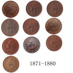 Индийская голова 1871-1880 лет, медные копировальные монеты