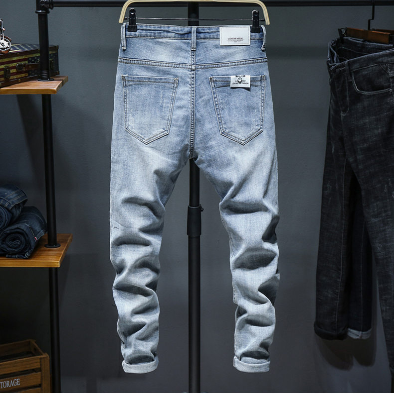 Skinny Jeans Men Light Blue Stretch 2020 Spring Fashion Streetwear Casual Denim Pants Jeans Men's