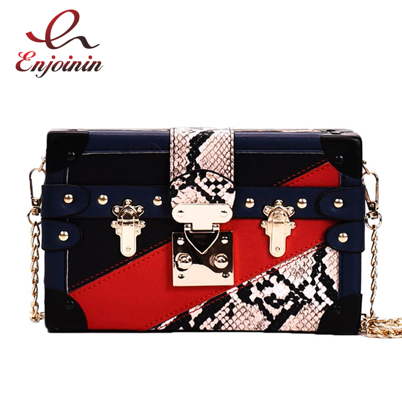 Red & Orange Stitched Snake Buckle Box Pu Women Party Clutch Bag Chain Purse Handbag Ladies Crossbody Mini Bag Shoulder Bag