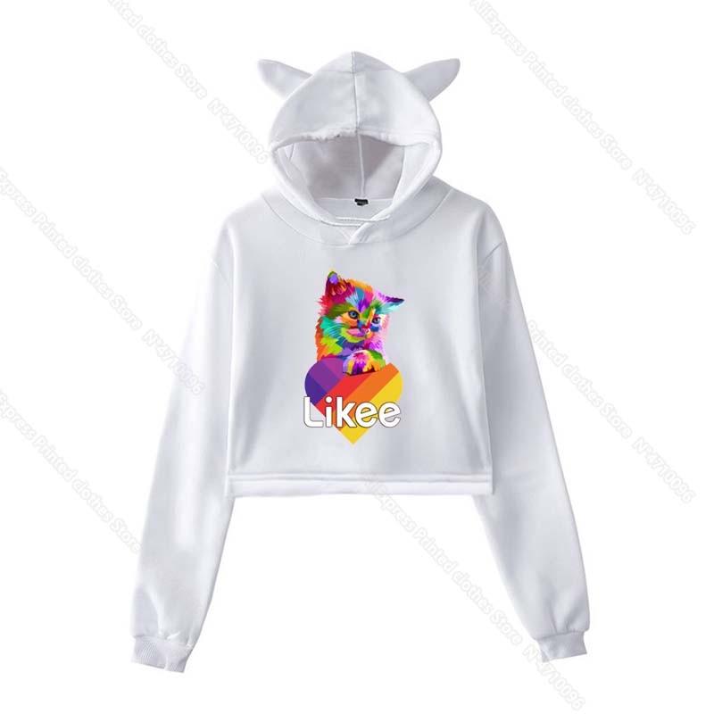 Girls Pink Cat Ear LIKEE Hoodies Cat Crop Top Likee App Hoodie Women Cartoon Unicorn Fox Sweatshirt Female Harajuku Streetwear 22