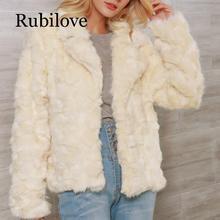 Rubilove Fashion Suit Collar Faux Fur Coat Female Autumn Winter Thick Warm Short Style Lapel Jacket Womens Beige Fluff