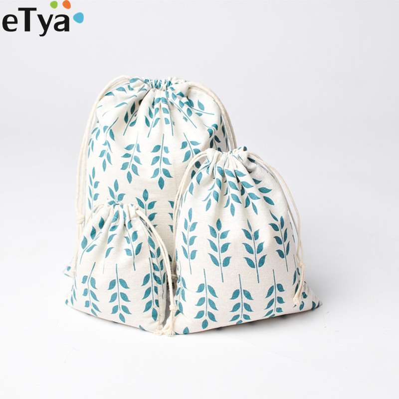 Multifunction Women Cotton Drawstring Bags Small Big Size Travel Cloth Cosmetic Shoes Storage Package Bag