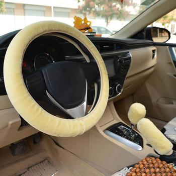 Car Steering Wheel Cover Winter Universal Hand Brake Gear Position Gear Three-piece Fur Cover Car Interior Accessories image