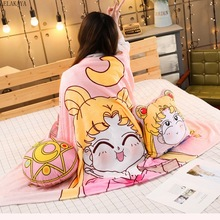 2 In 1 sevimli Sailor Moon Tsukino Usagi sihirli dizi peluş oyuncaklar yumuşak dolması klima sıcak yastık battaniye ile hediye