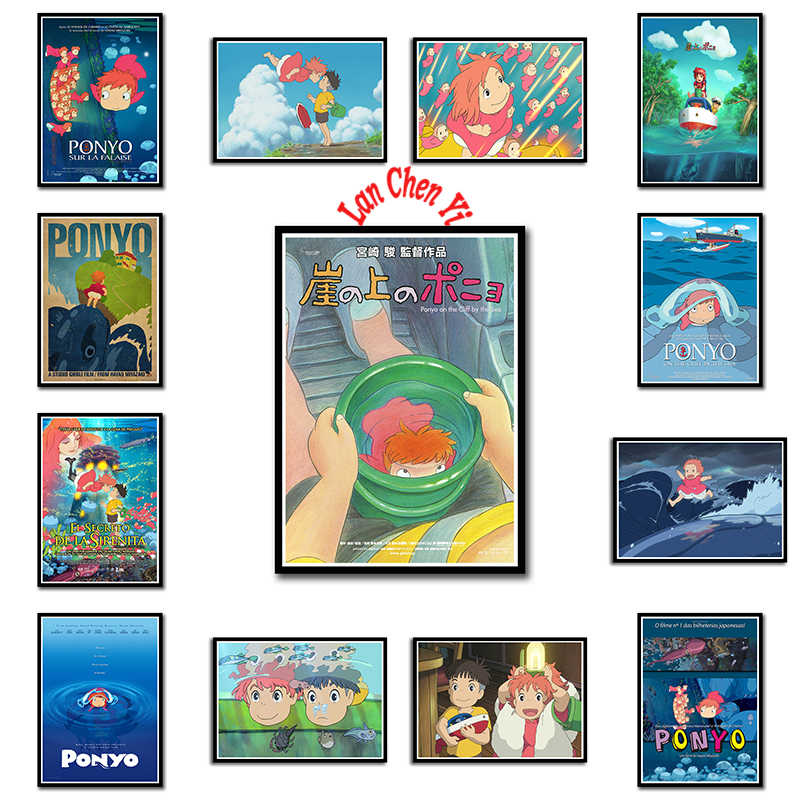 Classic Anime Ponyo On The Cliff Miyazaki Hayao Poster Wall Decor For Kids Room Home Bar Cafe Decorative Painting Wall Stickers Aliexpress