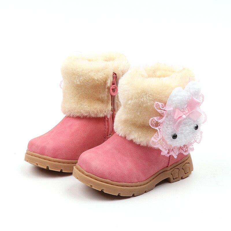 2019 Baby Girls Boots Warm Cute Rabbit Toddler Kids Girls Boots Girls Shoes Winter Children Boots Size 21-30 Bota Infantil