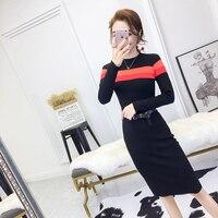 2019 Fashion Women dress Knitting Slim Season Elegant Collect Waist Dresses Black 9605