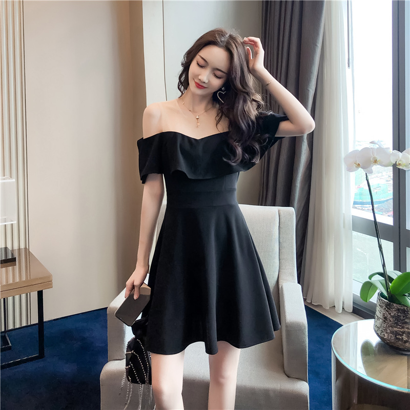 2019 Summer Sexy Off-Shoulder French GIRL'S Gentle Very Fairy Fashion Dress