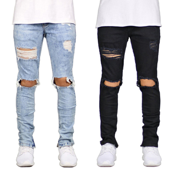 Men's Jeans Pencil Pants Casual Hole Skinny Jeans Men 2019 New Hip Hop Slim Ripped Denim Pant Black Trousers Male jean homme D25 2016 new arrived men s biker jeans bule casual slim distressed denim hiphop pant for male hots jean designer skinny trousers