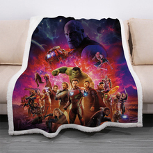 Disney Cartoon Avengers Hulk Captain America Sherpa Blanket Throw Thick Two-layers Soft Plush Iron Man 3D Printing Blanket