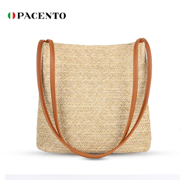 bucket shaped straw tote bag PACENTO New Arrvial Straw Tote Bag Rattan Handmade Bags for Woman Summer 2020 Bucket Bag Luxury Handbag Women Simple Borsa Donna