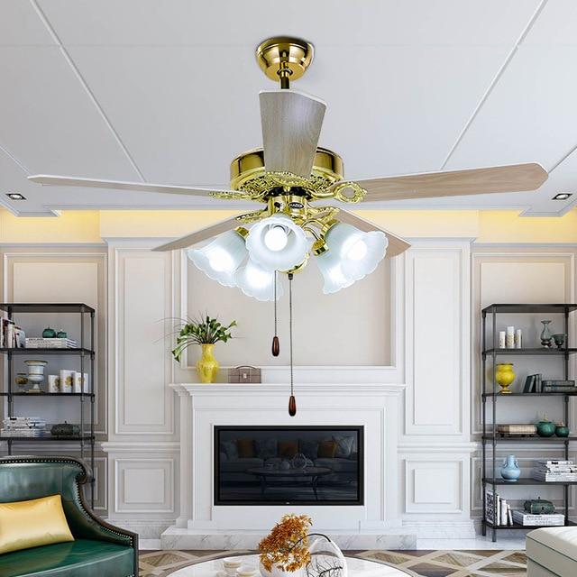 Style européen ventilateur lumière 42 pouces 48 pouces galvanoplastie lampe corps salon 110v/220v ventilateurs de plafond lampe cuivre moteur