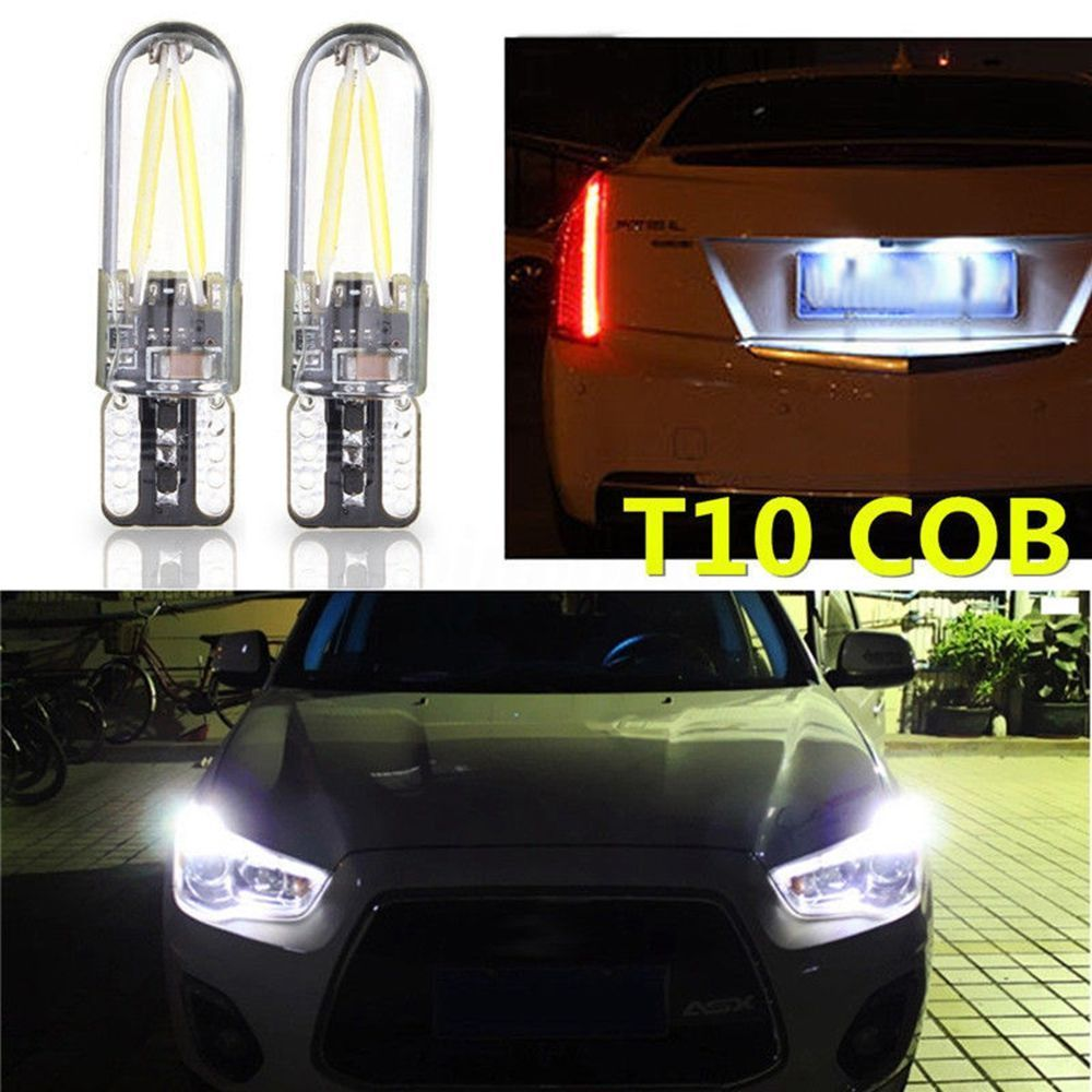 2pcs DC 12V-24V 3W 6500K T10 194 168 W5W COB LED Auto Car Glass License Plate Lights Lamps