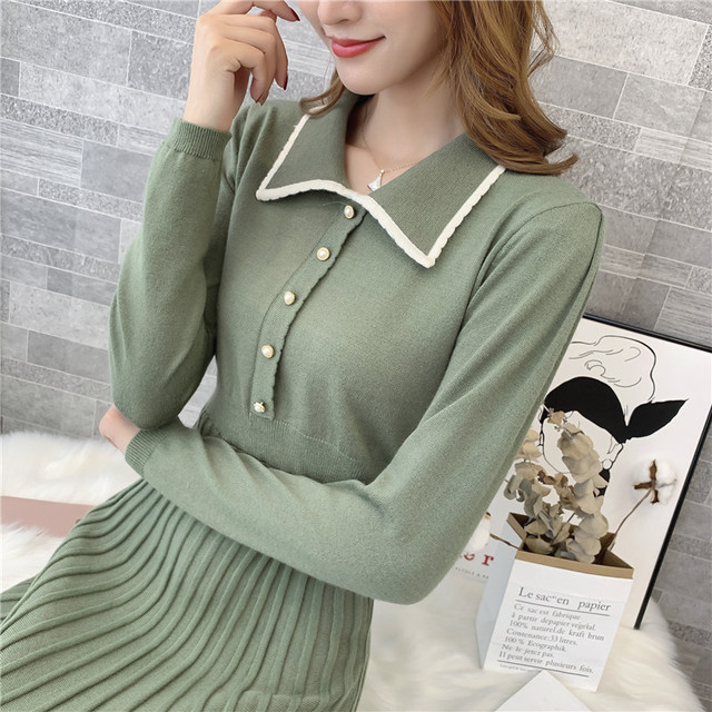 9308 actual photo of new knitted square collar woolen dress female slim 75 -- 1 / F, 7 rows, 2 shelves