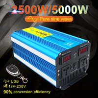 5000w pure sine wave solar inverter 12v TO 220v Voltage transformer converter LED display usb charging dual socket wireless