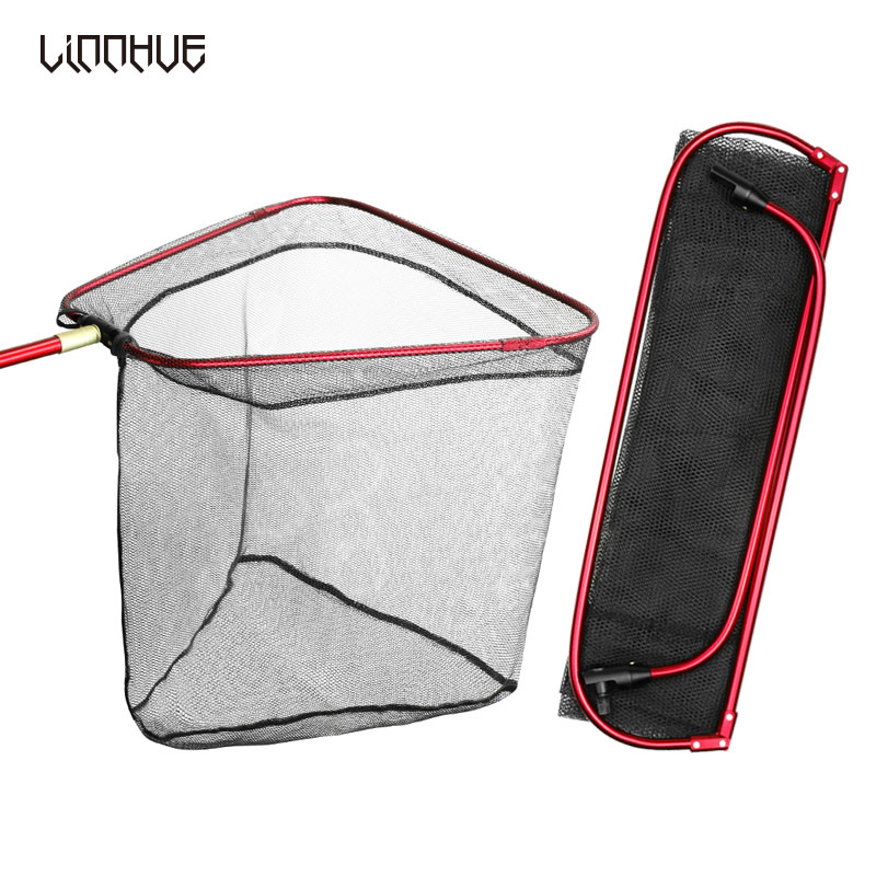 LINNHUE Foldable Triangle Fishing Net Aluminum Alloy 40cm/60cm Depth Portable Net Pole Fishing Brail Large Dense Net No Handle
