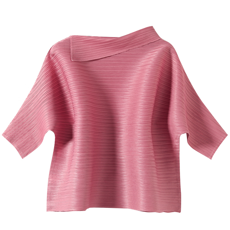 LANMREM 2020 New Spring Round Collar Solid Color Pullover T-shirt Women Streetwear Loose Simple Popular Pleated Tops Tide PD603