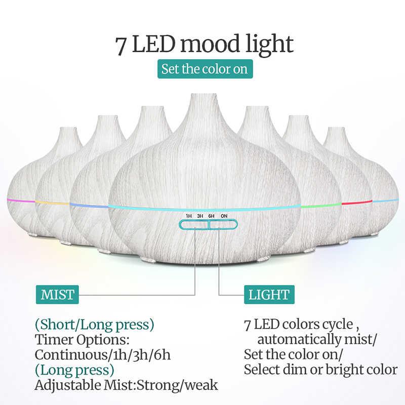 550 Ml Minyak Esensial Diffuser Ultrasonic Air Humidifier dengan Putih Butir 7 Warna Berubah Lampu LED Kabut Dingin untuk Kantor rumah