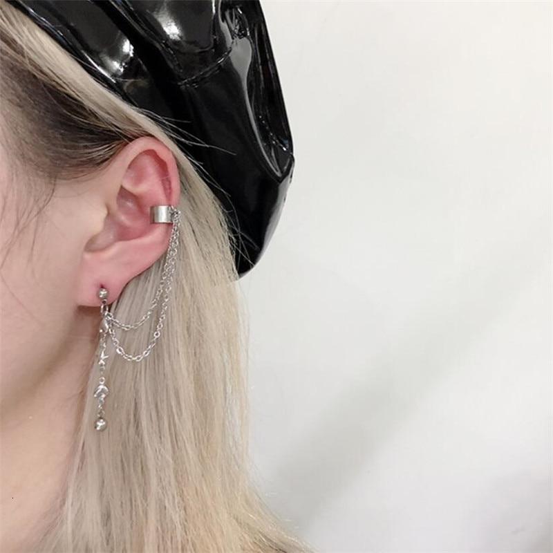 Kpop Personality Hip Hop Stainless Steel Heart Shaped Star Chain Tassel Pendant Earrings Ear Bone Chain Cool Egirl Disco Jewelry