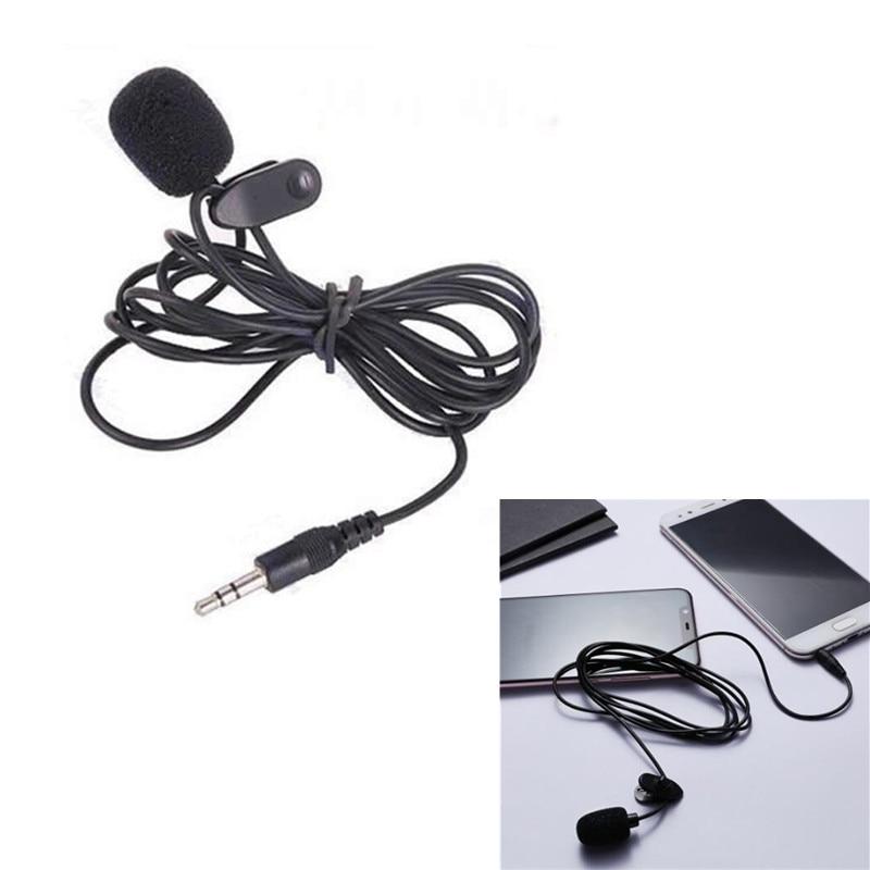 Черный 3,5 мм мини микрофон для студийной речи, микрофон с зажимом на отвороте для ПК, ноутбука 1,5 м