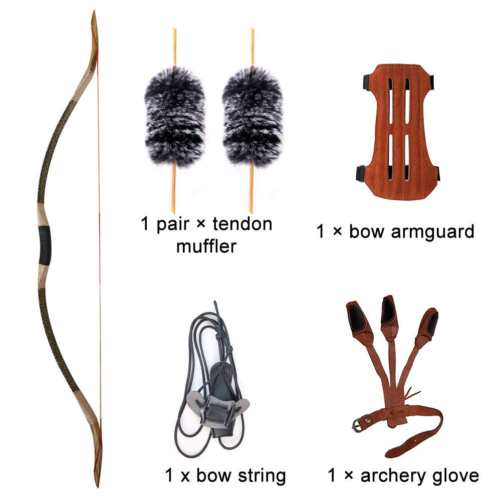 Huntingdoor Traditional Handmade Longbow Horsebow,Hunting Recurve Archery Bow,Recurve Bow Set