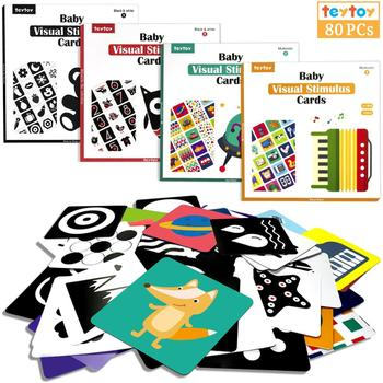 TEYTOY High Contrast Baby Flash Card, 80PCS Black White Colorful Learning Activity Card for Educational Newborn Infants Toys high quality black white flash cards early education card high contrast concentration training flash card for babies 0 6 months