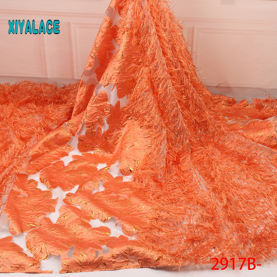 African Lace Fabric Latest High Quality 2019 Lace Horse's Tail French Lace Fabric Bridal Lace For Nigerian Party Dress YA2917B-1