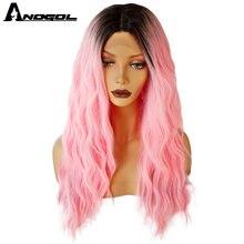 Anogol волосы синтетические кружевные передние парики для чернокожих