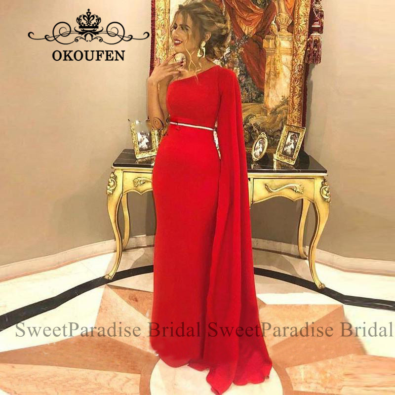 Cheap Red Evening Dress With Long Sleeves One Shoulder Arabia Dubai Women Mermaid Prom Dresses Robe De Soiree