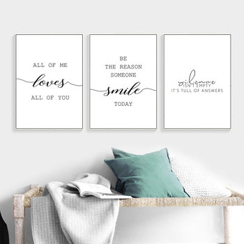 Nordic Decoration All of me love Word Wall Art Picture Canvas Poster and Print Canvas Painting Decorative for Living Room Decor print all over me легинсы