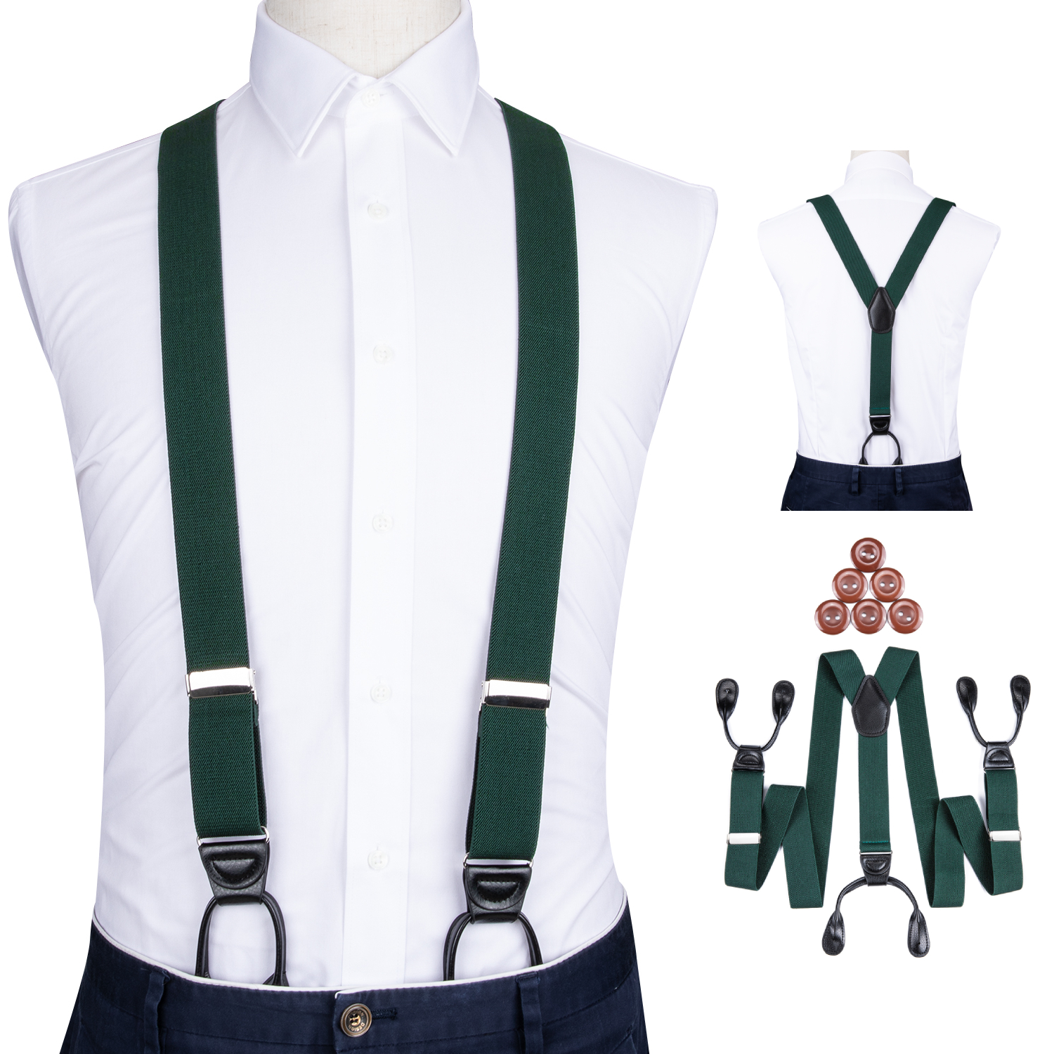 Suspenders For Men Leather Trimmed Button End Elastic Y Back Mens Trouser Suspenders Pant Braces Green 6 Button Brace DiBanGu