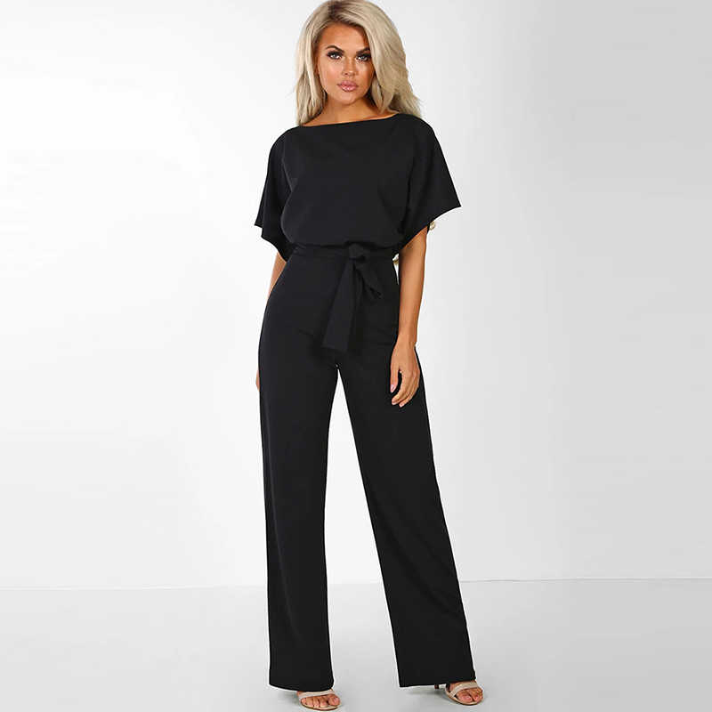 Vrouwen Elegante Zomer Korte Mouw Jumpsuits Rompertjes Plus Size 2XL Losse Strik Lace Up Knop Lange Broek Party Playsuits